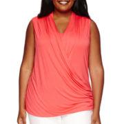 Liz Claiborne® Crossover Wrap Tank - Plus