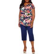 Liz Claiborne® Floral Henley Shirt or Emma Cropped Ankle Pants - Plus
