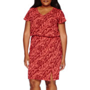 Liz Claiborne® Short-Sleeve Ruched Dress - Plus