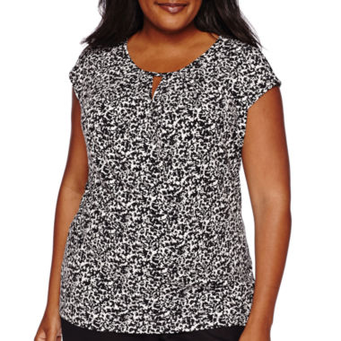 jcpenney.com | Liz Claiborne® Extended-Sleeve Pleated-Neck Top - Plus