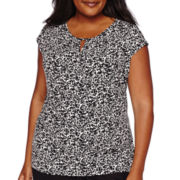 Liz Claiborne® Extended-Sleeve Pleated-Neck Top - Plus