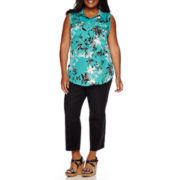 Liz Claiborne® Sleeveless Popover Shirt or Emma Ankle Pants - Plus