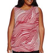 Liz Claiborne® Sleeveless Pleated Overlay Blouse - Plus