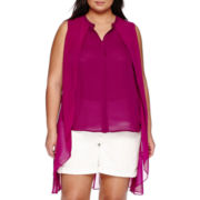 a.n.a® Chiffon Overlay Button-Down Top - Plus