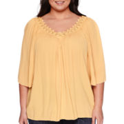 a.n.a® Embroidered-Neck Boho Top