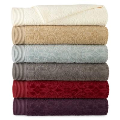bath towel set royal velvet verona sculpted bath towel collection - Egyptian Cotton Towels