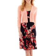 R&K Originals® Floral Print Dress with Sweater Shrug