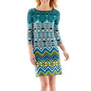 Tiana B. 3/4-Sleeve Geometric Print Shift Dress