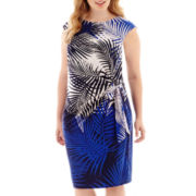 R&K Originals® Cap-Sleeve Palm Print Side-Tie Dress - Plus