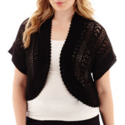 Perceptions Short-Sleeve Crochet Shrug - Plus