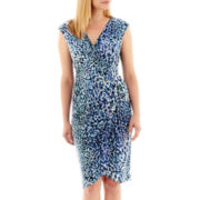 London Style Collection Sleeveless Faux-Wrap Dress - Petite