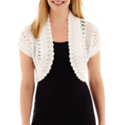 Perceptions Short-Sleeve Crochet Shrug Cardigan - Petite