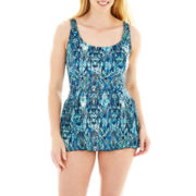 Beach Native® Snakeskin Print 1-Piece Swimdress - Plus