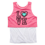 Okie Dokie® Layered Tank Top and Mesh Crop Top - Preschool Girls 4-6x