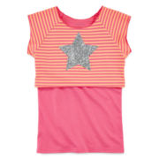 Okie Dokie® Layered Glitter Crop Top & Tank Top - Preschool Girls 4-6x
