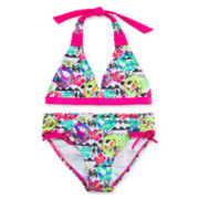 Breaking Waves 2-pc. Floral & Peace-Print Swimsuit - Girls 7-16
