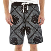Hollywood Bandana-Print Knit Fleece Shorts