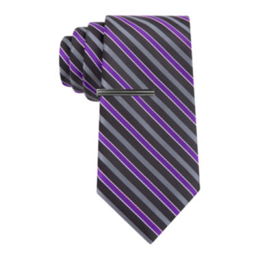 jcpenney.com | JF J. Ferrar® Mini- Striped Tie and Tie Bar Set - Extra Long
