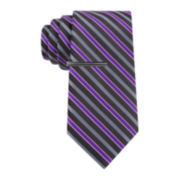 JF J. Ferrar® Mini- Striped Tie and Tie Bar Set - Extra Long