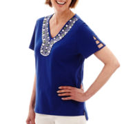 Alfred Dunner® Catalina Island Short-Sleeve Beaded Yoke Top - Petite