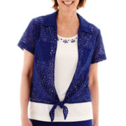 Alfred Dunner® Catalina Island Short-Sleeve Lace Tie-Front Layered Top - Petite