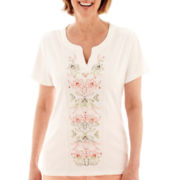 Alfred Dunner® Key Largo Short-Sleeve Floral Embroidered-Center Top