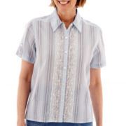Alfred Dunner® Paradise Island Short-Sleeve Lace-Trim Striped Top - Petite