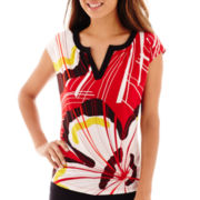 Worthington® Short-Sleeve Split-Neck Top - Petite