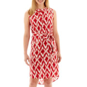 Liz Claiborne® Sleeveless Print Belted Dress - Petite
