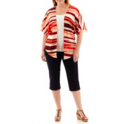 Liz Claiborne® Kimono Topper or Denim Cropped Pants - Plus