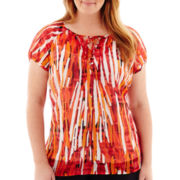 Liz Claiborne® Short-Sleeve Peasant Top - Plus