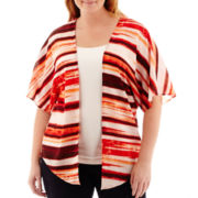 Liz Claiborne® Short-Sleeve Kimono Topper - Plus