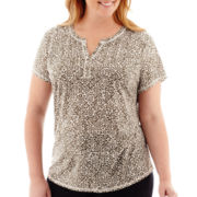 Liz Claiborne® Short-Sleeve Slub Print Henley Top - Plus