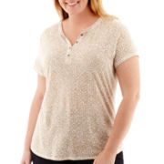Liz Claiborne® Short-Sleeve Slub Henley Top - Plus