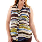 Liz Claiborne® Sleeveless Equipment Shirt - Plus
