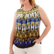 Liz Claiborne® Sleeveless Pleated-Neck Popover Top - Plus