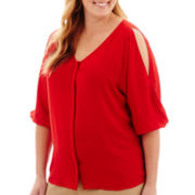 Worthington® 3/4-Sleeve Cold-Shoulder Blouse - Plus