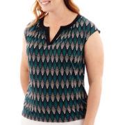 Worthington® Short-Sleeve Split-Neck T-Shirt - Plus