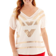 Worthington® Short-Sleeve Sequin Chiffon Top - Plus