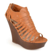 Journee Collection Open-Toe Platform Wedges