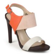 Journee Collection Tonal Ankle-Strap High-Heel Sandals