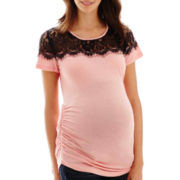 Maternity Short-Sleeve Lace-Yoke Tee