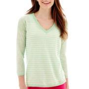 Stylus™ 3/4-Sleeve V-Neck Striped Sweater