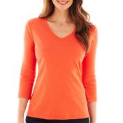 St. John's Bay® 3/4-Sleeve Essential V-Neck T-Shirt