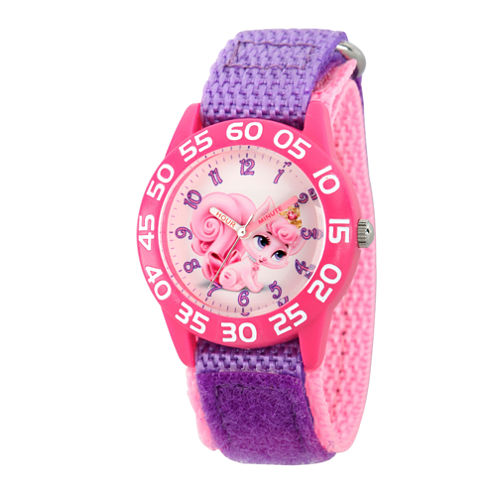 Disney Girls Palace Pets Purple Dreamy Time Teacher Strap Watch W002836