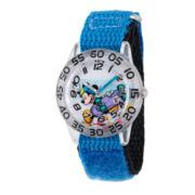 Disney Boys Mickey Mouse Black and Silver Tone Time Teacher Strap Watch W002995