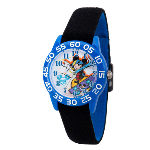 Disney Boys Black and Blue Mickey Time Teacher Strap Watch W002996
