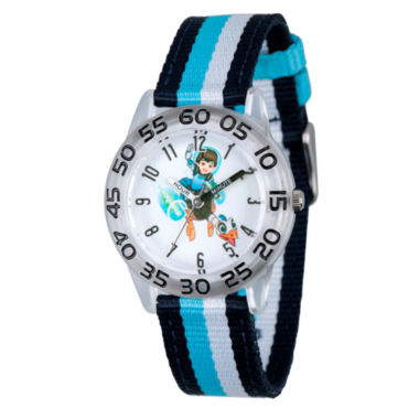 jcpenney.com | Disney Boys Blue and Silver Tone Striped Miles From Tomorrowland Time Teacher Strap Watch W003048