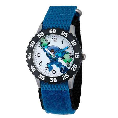 Disney Boys Blue and White Miles From Tomorrowland Time Teacher Strap Watch W003051