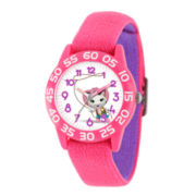 Disney Girls Pink and White Sheriff Callie Time Teacher Strap Watch W003080